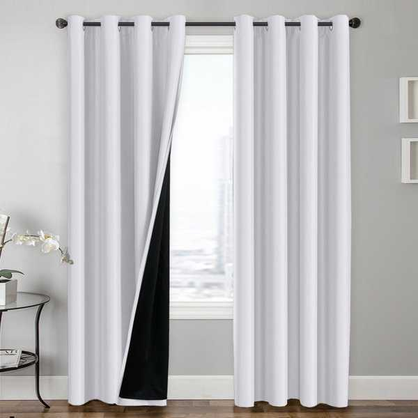 PrimeBeau 100% Blackout Lined Insulated Energy Saving Curtains 2-Pack
