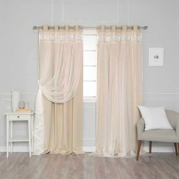 Aurora Home Lace Overlay Room Darkening Grommet Top Curtain Panel Pair