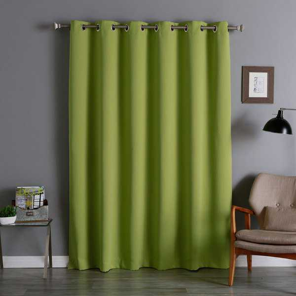 Aurora Home Silvertone Grommet Top Wide Width Thermal Insulated Blackout Curtain Panel