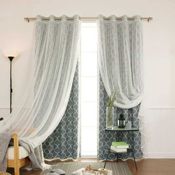 Aurora Home Mix & Match Quatrefoil Room Darkening and Lace Sheer 4 Piece Curtain Panel Set - 52'W x 84'L