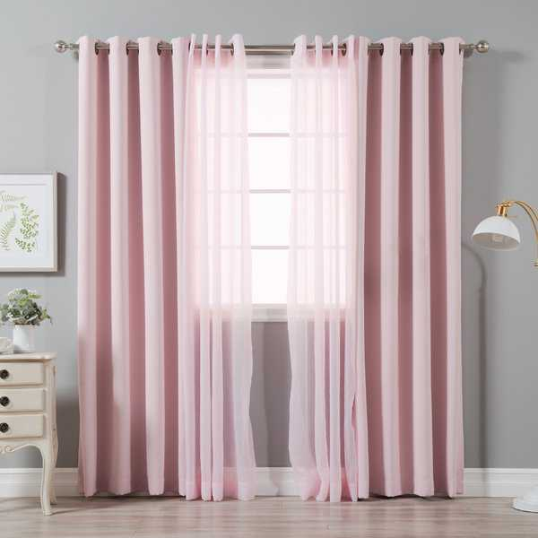 Aurora Home Mix & Match Crushed Voile & Solid Blackout 4 Piece Curtain Panel Set - 52 x 84