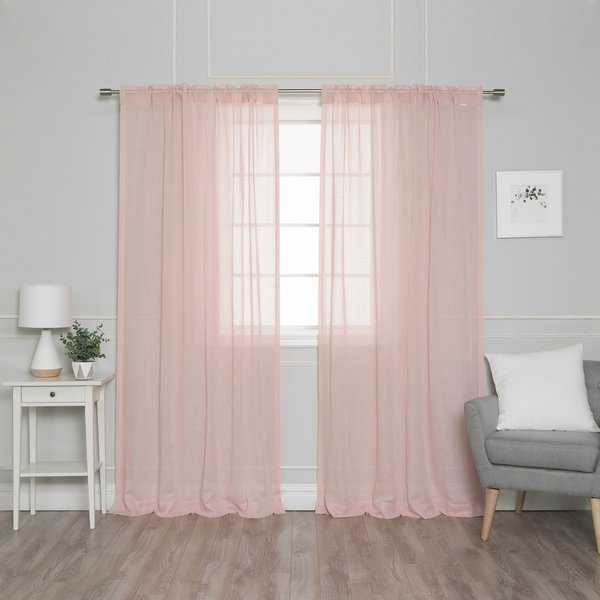 Aurora Home Textured Faux Linen Rod Pocket Curtain Panel Pair - 52'W x 84'L