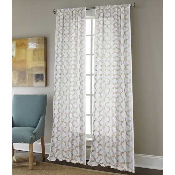 Sherry Kline Burlingame Luxury Embroidered Rod Pocket Sheer Curtain Panel Pair - 52 x 96
