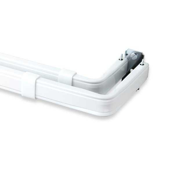 Rod Desyne Lockseam Decorative Window Double Curtain Rod 84-120' - White