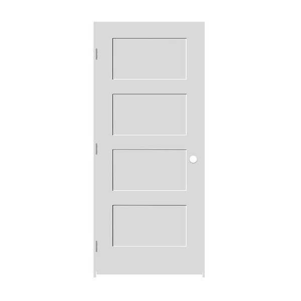 Trimlite 3068138-8444RH154916 36' by 80' Shaker 4-Panel Right Handed Interior Pr - Primed - N/A